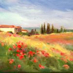 Tuscany Italy Landscape Red Flowers