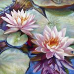 Twin Water Lilies Reflection Painting Nancy