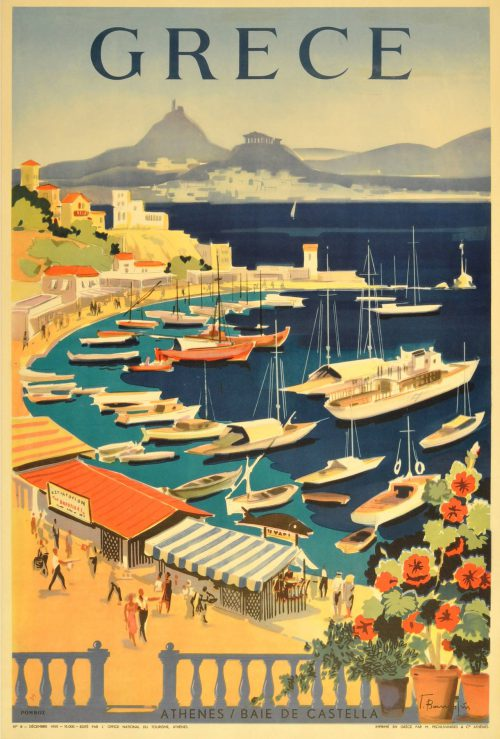 Unknown Original Vintage Travel Poster Greece Grece Athenes Baie Castella