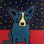 Untitled Blue Dog Green Face George