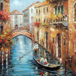 Venice Italian Couple Canal Boat Gondola Stretched Oil Canvas Painting