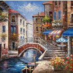 Venice Oil Painting Paintings Cities Red