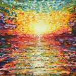 Very Large Painting Sale Colourful Sunset Saunton Beach Pete