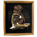 Vintage Aboriginal Velvet Painting Black