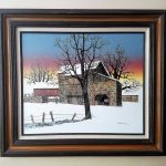 Vintage Americana Hargrove Barn Under Blue Winter Sky Serigraph Oil