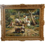 Vintage Antique Oil Canvas Painting Signed Bothe Memorablecollection Ruby