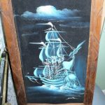 Vintage Black Velvet Mast Ship Painting Wood
