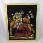 Vintage Black Velvet Matador Painting Signed Mexico