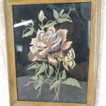 Vintage Black Velvet Oil Painting Framed Red Rose