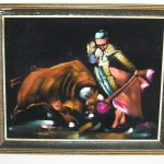 Vintage Black Velvet Painting Bullfighter