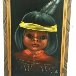 Vintage Black Velvet Painting Native American