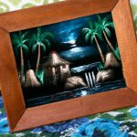 Vintage Black Velvet Painting Tiki Island Art Treasury