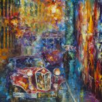 Vintage Car Collection Piece Palette Knife Oil Painting Canvas Leonid