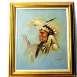Vintage Carson Oil Painting Native American Indian Eagle Head
