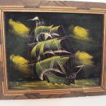 Vintage Haunting Green Neon Pirate Ship Velvet