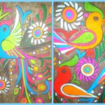 Vintage Mexican Amate Bark Paintingset Neon