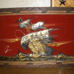 Vintage Red Velvet Framed Textured Painting Ship