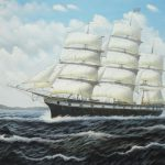 Vintage Sailing Ship Oil Painting Boat Classic Inches