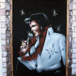 Vintage Velvet Elvis White Jumpsuit Hawaii Painting