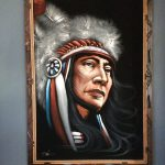 Vintage Velvet Painting Native American