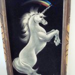 Vintage Velvet Painting Unicorn Rainbow