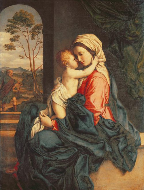 Virgin Embracing Painting Giovanni Battista