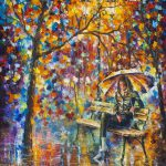 Waiting Rain Palette Knife Oil Painting Canvas Leonid