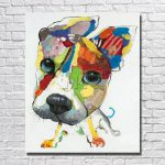 Wall Art Canvas Abstract Dog Painting Home Decor Living Room