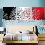Wall Art Sets Piece Modern Abstract Still Life Black White Red Tree Canvas