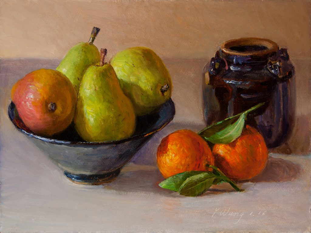 Wang Fine Art Pears Orange Still Life Oil Painting Day Contemporary