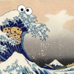 Want Great Wave Cookie Monster Takes His Cookies Hokusai Ukiyoe Woodblock