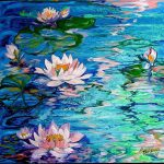 Water Lily Paintings Oil Painting Baldwin Depicting Enchanting Blue
