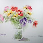 Watercolor S Roseann Hayes Floral Bouquet