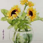 Watercolor S Roseann Hayes Sunflowers Original