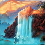 Waterfall Horse Fantasy Painting Oil
