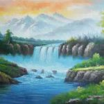 Waterfall Summer Style Bob Ross Painting Oil
