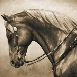 Western Horse Painting Sepia Galaxy Case Sale Crista