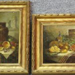 Whitaker George William Pair Oil Canvas Still Life Paintings Laster Fine Art