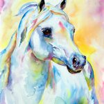 White Horse Portrait Painting Christy