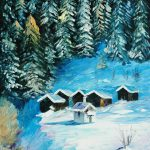 Winter Forest Palette Knife Oil Painting Canvas Leonid