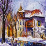 Winter Stroll Palette Knife Oil Painting Canvas Leonid