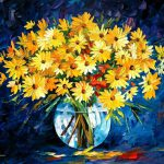 Yellow Blue Palette Knife Oil Painting Canvas Leonid