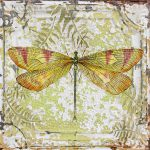 Yellow Dragonfly Vintage Tin Painting Jean