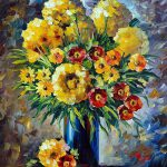 Yellow Flowers Palette Knife Oil Painting Canvas Leonid
