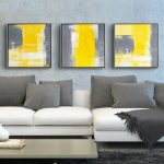 Yellow Grey Modern Minimalist Abstract Painting Decorative Canvas Paintings Living Room