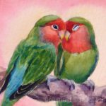 Zeh Original Art Blog Watercolor Oil Paintings Rosy Faced Lovebirds