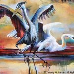 Abstract Bird Art Contemporary Egret Painting