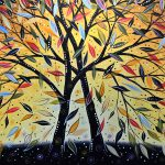 Abstract Landscape Modern Tree Art Painting New Day Dawning Amy