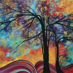 Abstract Landscape Tree Art Colorful Gold Textured Original Painting