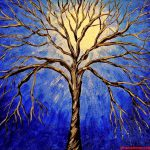 Abstract Tree Painting Blue